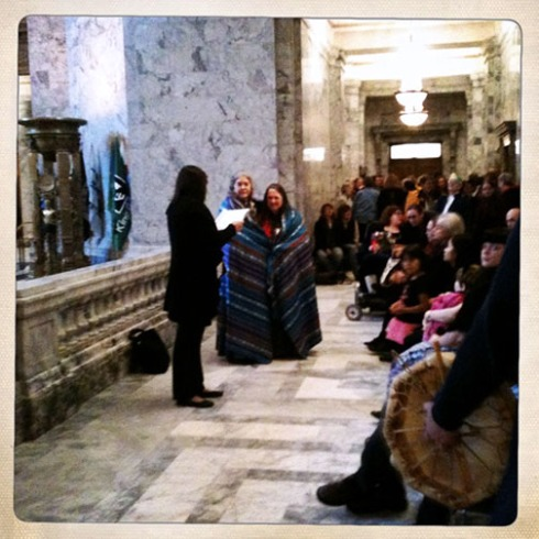 near the end of a Native American ceremony - these ladies also provided the amazing cakes at the reception!