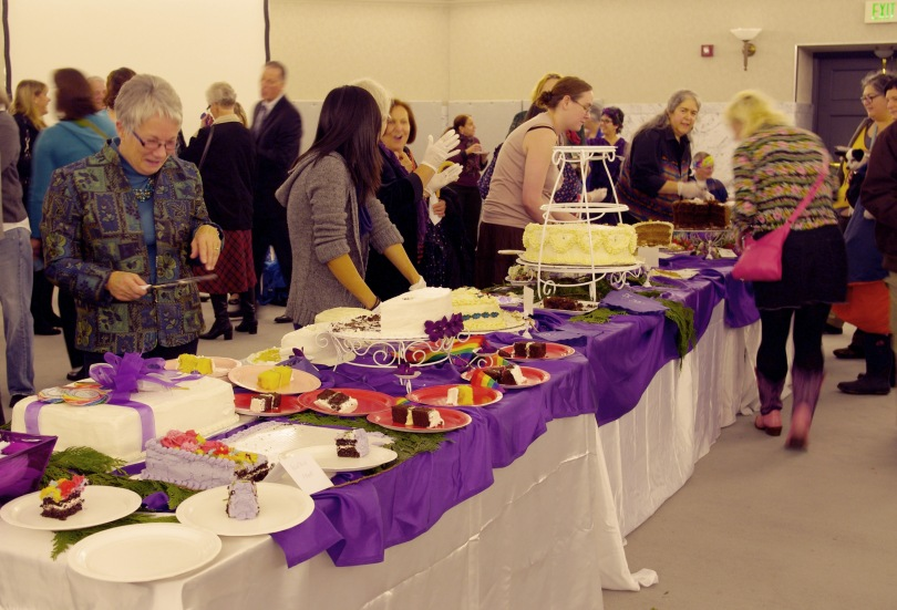 a generous and delicious assortment of cakes at the reception